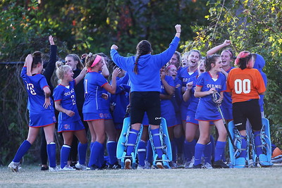 George P. Smith/The Montgomery Sentinel    Anne Arundel County's Old Mill High School girls celebrate after defeating Churchill 1-0 to advance in the palyoffs.