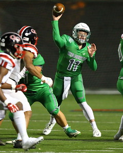 George P. Smith/The Montgomery Sentinel    Walter Johnson's Josh Forburger (11) throwing a pass.