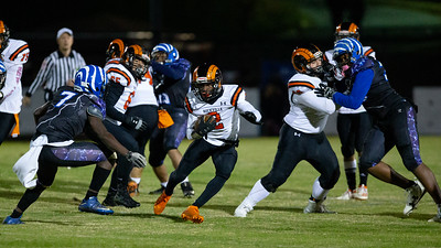November 1, 2019 - The Rockville Ram lineman clear oout the Blake defense to make a hole for Running Back Wesley Nchinda.  Photo by Mike Clark/The Montgomery Sentinel
