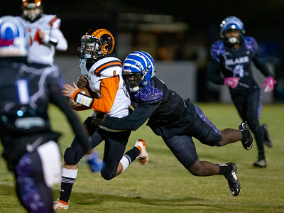 November 1, 2019 - Dylan Monday scrambles here. His rushing and passing proved too much for the Blake Bengals in a 22-6 win at Blake.  Photo by Mike Clark/The Montgomery Sentinel
