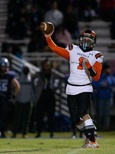 November 1, 2019 - Rockville High School's Quarterback Dylan Monday completes this pass and leads his Rams to a 22-6 victory over host Blake.  Photo by Mike Clark/The Montgomery Sentinel