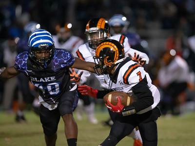 November 1, 2019 - Rockville's Marquez Piatt funs lots of running room against the Blake defense. Photo by Mike Clark/The Montgomery Sentinel