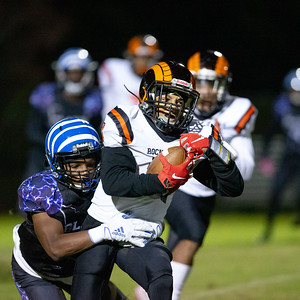 November 1, 2019 - Rockville Ram Marquez Piatt tries to break free from the Blake defense. The Rams put up 22 points in the win over host Blake. Photo by Mike Clark/The Montgomery Sentinel