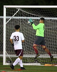 George P. Smith/The Montgomery Sentinel    Bladensburg goalie Jose Campos Portillo (98) making a stop.