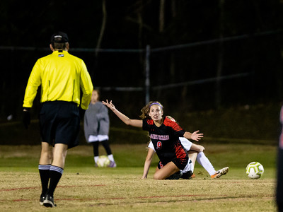 November 2, 2019 - Quince Orchard's Grace Soler is taken down but doesn't get the foul call. The 4A state quarter finals was hard fought but host QQ comes up short 2-1. Photo by Mike Clark/The Montgomery Sentinel