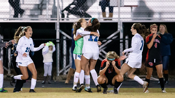 November 2, 2019 - The Churchill Lady Bulldogs celebrate their upset 2-1 win over the top-seeded Quince Orchard - disappointing the host Cougars.  Photo by Mike Clark/The Montgomery Sentinel