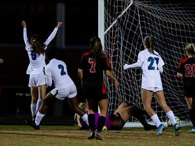 November 2, 2019 - The Churchill Lady Bulldaogs celebrate the game-winning goal by Emily Silver.  Churchill knocked off top-seeded Quince Orchard to advance to the state semi-finals. Photo by Mike Clark/The Montgomery Sentinel