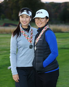 George P. Smith/The Montgomery Sentinel    Richard Montgomery's Alyssa Cong (left) and Emma Chen (right) finished in a 4 way tie for 2nd in the Girls 3A/4A Classification of the 2019 MPSSAA Golf Championships played at the University of Maryland Golf Course in College Park, MD.