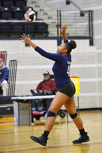 George P. Smith/The Montgomery Sentinel    Magruder's Kaliyah Moss (42) serving against Bel Air in the State 3A Semifinal game played at the University of Maryland at College Park's Ritchie Coliseum on Thursday, November 14, 2019.