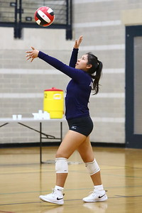 George P. Smith/The Montgomery Sentinel    Magruder's Kendra Jimenez (9) serving against Bel Air.