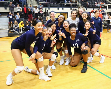 George P. Smith/The Montgomery Sentinel    The Magruder girls volleyball team celebrates after winning their semifinal match against Bel Air to advance to the 3A Final against Northern Calvert on Saturday, November 16, 2019 at 7:30PM at the University of Maryland at College Park's Ritchie Coliseum.