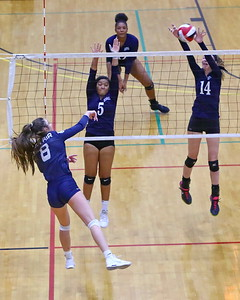 George P. Smith/The Montgomery Sentinel    Magruder's Sarah Schaupp (14) with the block against Bel Air.