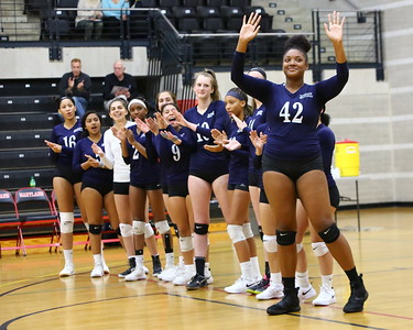 George P. Smith/The Montgomery Sentinel    Magruder's Kaliyah Moss (42) and the girls volleyball team being introduced.