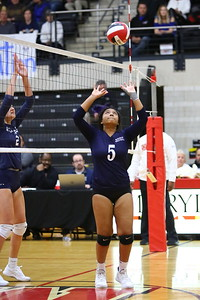 George P. Smith/The Montgomery Sentinel    Magruder's Tonessa Jhingory (5) setting the ball against Bel Air.