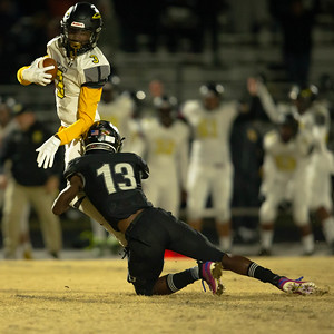 November 15, 2019 - Northwest's Darius Lorfils brings down Richard Montomgery's Daryl Harper for a short gain. The Richard Montgomery offense was limited to 3 points in a 42-3 loss to host Northwest. Photo by Mike Clark/The Montgomery Sentinel