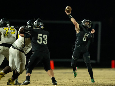 November 15, 2019 - Jordan Morse launches this long reception to Kaden Prather to help Northwest put away Richard Montgomery and move on to the 4A quarterfinals. Photo by Mike Clark/The Montgomery Sentinel