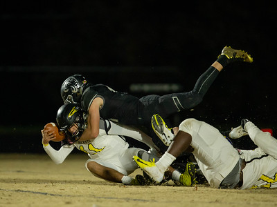November 15, 2019 - The Northwest Jaguars dominate Richard Montgomery in the 4A playoffs. Here Tyler Denner sacks Quarterback Kieran Chai-Onn and forces a fumble. Photo by Mike Clark/The Montgomery Sentinel
