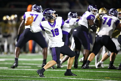 George P. Smith/The Montgomery Sentinel    Gonzaga's quarterback Caleb Williams (18) draws back to make a deep throw downfield but the ball drifted out of bounds.