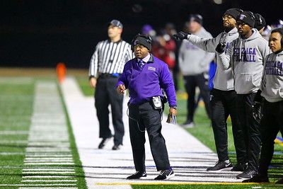 George P. Smith/The Montgomery Sentinel    Gonzaga's head coach Randy Trivers (in purple).