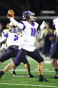 George P. Smith/The Montgomery Sentinel    Gonzaga's quarterback Caleb Williams (18) going back to pass.