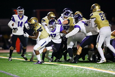 George P. Smith/The Montgomery Sentinel    Good Counsel's Sy'Veon Wilkerson (3) pops through the pile and into the endzone for a Falcon touchdown.
