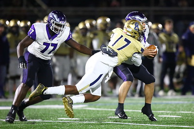 George P. Smith/The Montgomery Sentinel    Good Counsel's Mitchell Melton (17) sacks Gonzaga's quarterback Caleb Williams (18).
