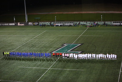 George P. Smith/The Montgomery Sentinel    Leonardtown (in blue) and Walt Whitman High School (in white) during introductions at the Boys 4A Soccer State Final match held at Loyola University Maryland's Ridley Intercollegiate Athletic Complex in Baltimore, MD on Saturday, November 16, 2019.