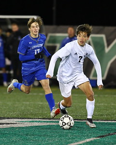 George P. Smith/The Montgomery Sentinel    Walt Whitman's Aaron Gunther (7), who scored 1 of the Vikings' 3 goals, dribbles the ball through the Leonardtown defense.