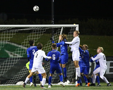 George P. Smith/The Montgomery Sentinel    Walt Whitman's Abe Hoogeveen (3) goes up trying to head the ball in the net during a Viking corner kick.