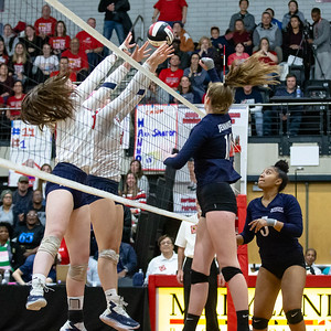 November 16, 2019 - Kristen Jennings of the Magruder Colonels places the ball over the outstretched Northern front line for the point in Magruder's 3A championship at Ritchie Collesium, University of Maryland. Photo by Mike Clark/The Montgomery Sentinel