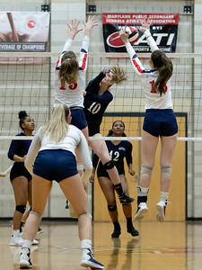 November 16, 2019 - Much of teh Maryland 3A volleyball championship took place above the net, including this slam by Magruder's Krsiten Jennings. Photo by Mike Clark/The Montgomery Sentinel