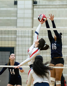 November 16, 2019 - Magruder's Maya Scott rejects the shot by Northern's Gabby Elbrecht as the Colonels take the 2019 3A championship. Photo by Mike Clark/The Montgomery Sentinel