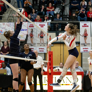 November 16, 2019 - Kristen Jennings of Magruder gets the block on Nortnern's Allie Droneberger in the third set. Northern's long run of championships fall short in four sets. Photo by Mike Clark/The Montgomery Sentinel