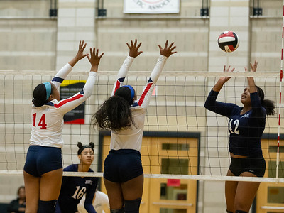 November 16, 2019 - Kallyah Moss dominates the net for much of the Magruder win over Northern for the 3A state championship. Photo by Mike Clark/The Montgomery Sentinel