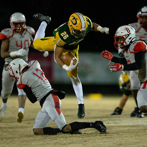 November 22, 2019 - Franklin's Dakari Copeland trips up Damascus' Chris Shaw but not before he picked up a critical first down. Photo by Mike Clark/The Montgomery Sentinel