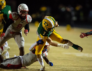 November 2, 2019 - Arm tackle attempts by the Franklin Indians are not enough to stop Cole Leslie and the Damascus running game. Host Damascus advances with a 30-13 victory. Photo by Mike Clark/The Montgomery Sentinel