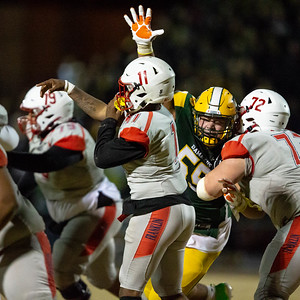 November 22, 2019 - 6'5 and 290 lb. top national recruit and obvious Clemson commit Brian Bresee forced errant Franklin passes all game in the 30-13 3A quarter-final win.  Photo by Mike Clark/The Montgomery Sentinel