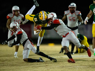 November 22, 2019 - Franklin's Dakari Copeland and DJ Frazier combine to bring Damascus' Chris Shaw but not before he picked up a critical first down. Photo by Mike Clark/The Montgomery Sentinel