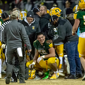"""November 22, 2019 - In an unfair size match-up, 6'5"""" 290 lb. Linemen and one-time full-back picks up the fourth down and four yards and then contintues into the endzone for the touchdown. Photo by Mike Clark/The Montgomery Sentinel"""
