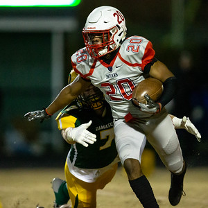 November 22, 2019 - Damascus Hornet Cole Leslie chases down Franklin's Rodney Nelson. Franklin could not overcome Damascus' size and speed and fall 30-13. Photo by Mike Clark/The Montgomery Sentinel