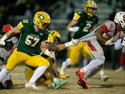 November 22, 2019 - 6'5 and 290 lb. top national recruit Brian Bresee takes down Von Reames of Franklin by the jersey as the Damascus Hornets stiffle the Indian's running game. Photo by Mike Clark/The Montgomery Sentinel
