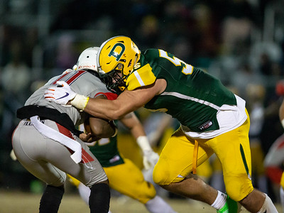 November 22, 2019 - Top national recruit and Clemson commit Brian Bresee sheds his blocker and sacks Franklin Quarterback Vernon Brown III in the 30-13 Hornet state semi-final victory. Photo by Mike Clark/The Montgomery Sentinel