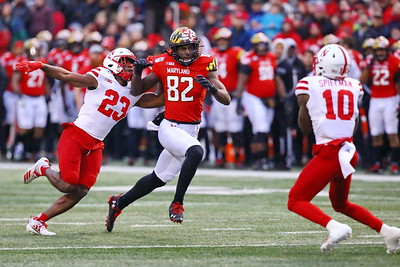 George P. Smith/The Montgomery Sentinel    Maryland's Isaiah Hazel (82) bearing down on Nebraska's JD Spielman (10) likely caused him to mishandle the punt.
