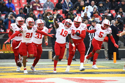 George P. Smith/The Montgomery Sentinel    Nebraska players celebrate after scoring their 1st touchdown against Maryland. There would be many more.