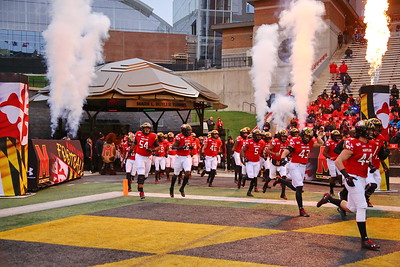 George P. Smith/The Montgomery Sentinel    The Maryland Terrapins take the field before the game against Nebraska.