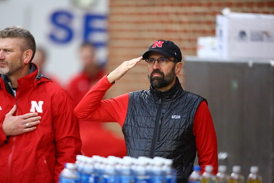 George P. Smith/The Montgomery Sentinel    A crisp Nebraska salute during the playing of the National Anthem.