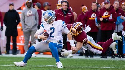 November 24, 2019 - The Redskin's Cole Holcomb has a big day against the Detroit Lions with seven tackles, a forced fumble, and this sack of Quarterback Jeff Driskel. Photo by Mike Clark/The Montgomery Sentinel