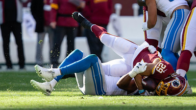 November 24, 2019 - The Detroit Lions' defense shut down Derrius Guice and the rest of the Redskins running game - limiting the team to only 86 yards in the 19-16 victory at Fedex Field. Photo by Mike Clark/The Montgomery Sentinel