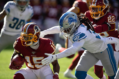 November 24, 2019 - Stephen Sims, Jr. of the Washington Redskins eluded the Lions special teams, averaging 61 yards per return, including a 91-yard touchdown return in the 19-16 Redskin victory. Photo by Mike Clark/The Montgomery Sentinel