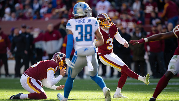 November 24, 2019 - Redskin Kicker Dustin Hopkins goes 4/4 with a long of 44 yards and the 39-yard game winner over the Detroit Lions at Fedex Field. Photo by Mike Clark/The Montgomery Sentinel